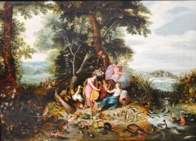SH Enchères, Sophie Himbaut commissaire-priseur Belle vente de tableaux, meubles et objets d'art le vendredi 19 Mars brueghel-jan-ii-dit-le-jeune-allegorie-des-quatre-elements